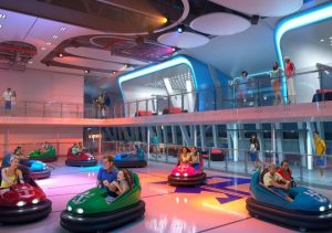 bumper cars on a cruise ship