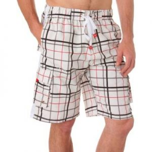 Mens Trendy Plaid Board Shorts / Swim Trunks