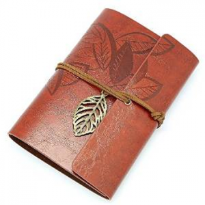Retro Vintage PU Leather Cover Loose Leaf Design String NoteBook Diary Journal Travel Gift (Red)